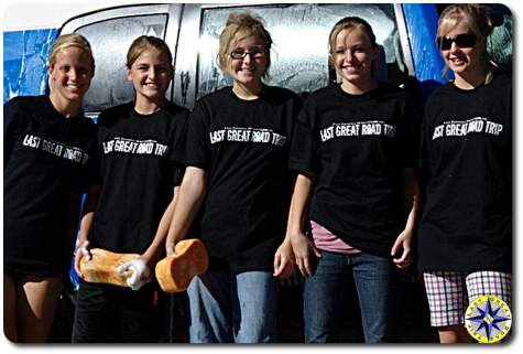 girls in last great road trip t-shirt