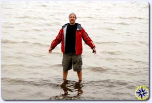 standing in arctic ocean