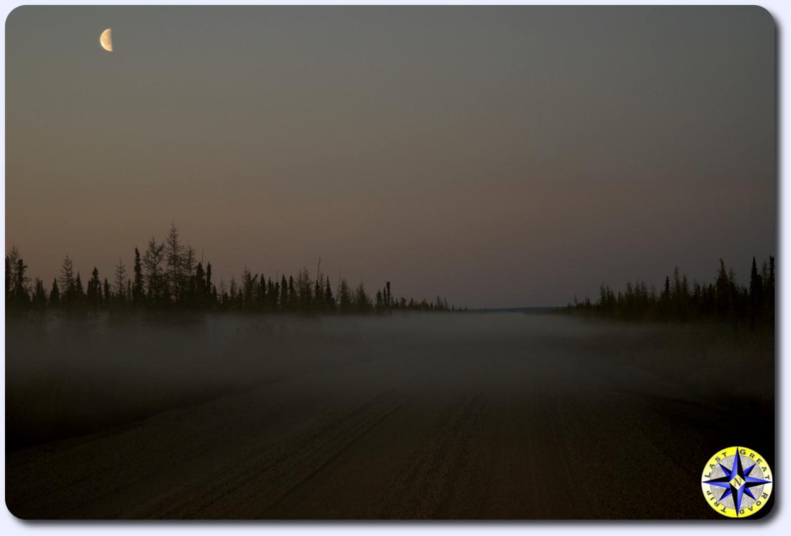 foggy dempster highway at dusk