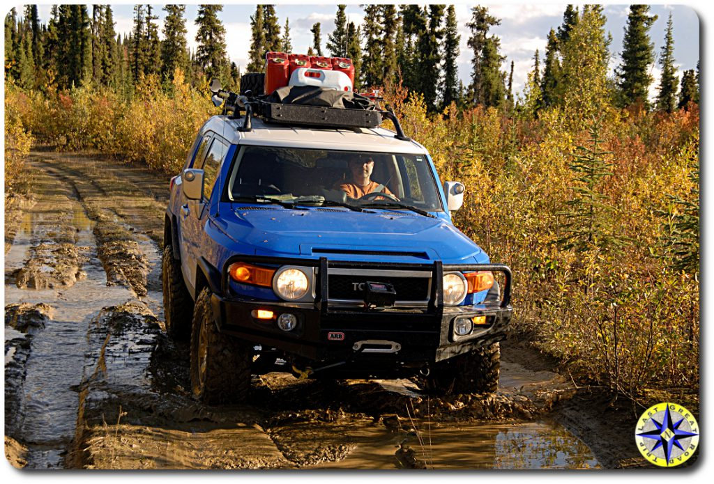 fj cruiser muddy trail fall colors
