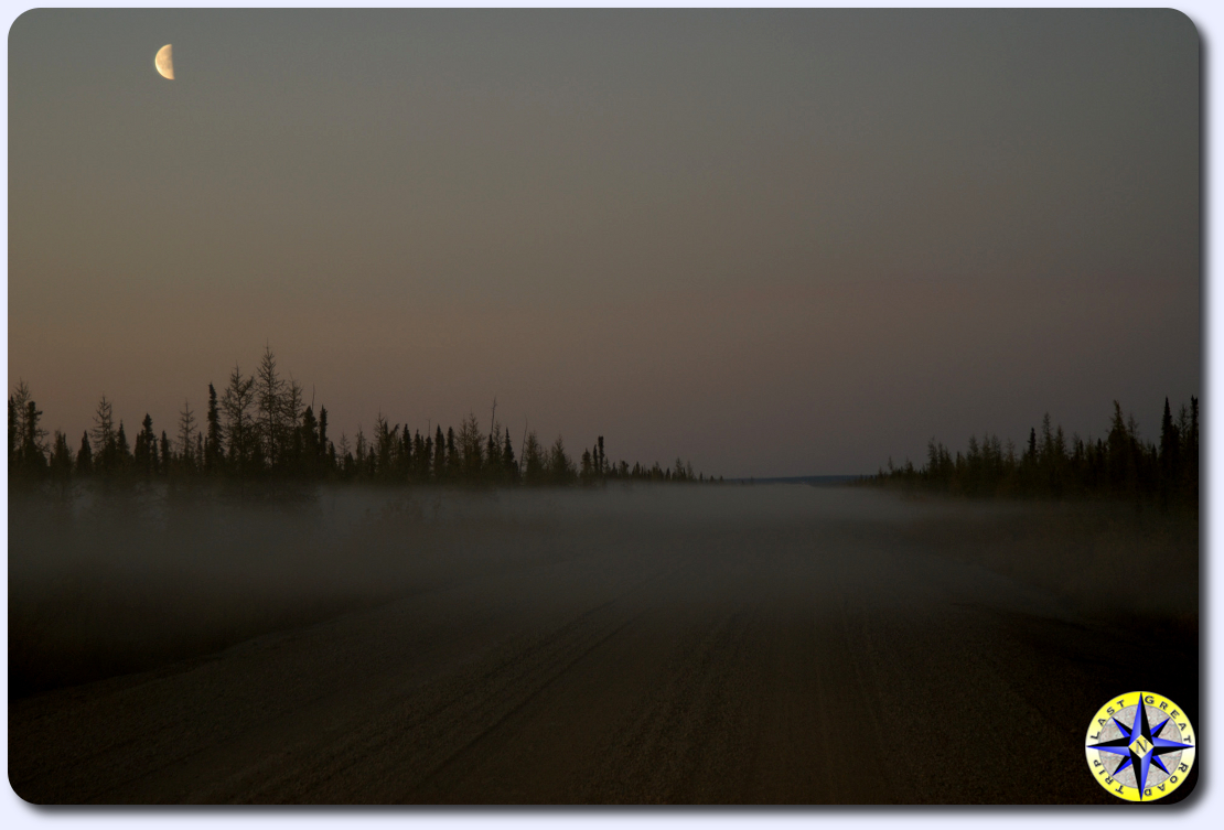 foggy dempster highway at dusk