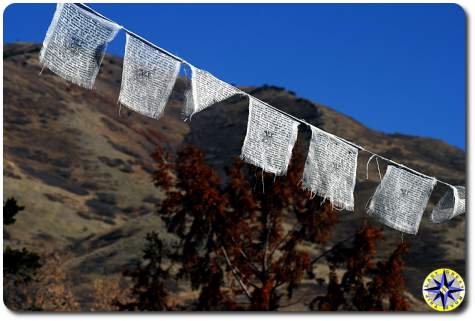 white prayer flags