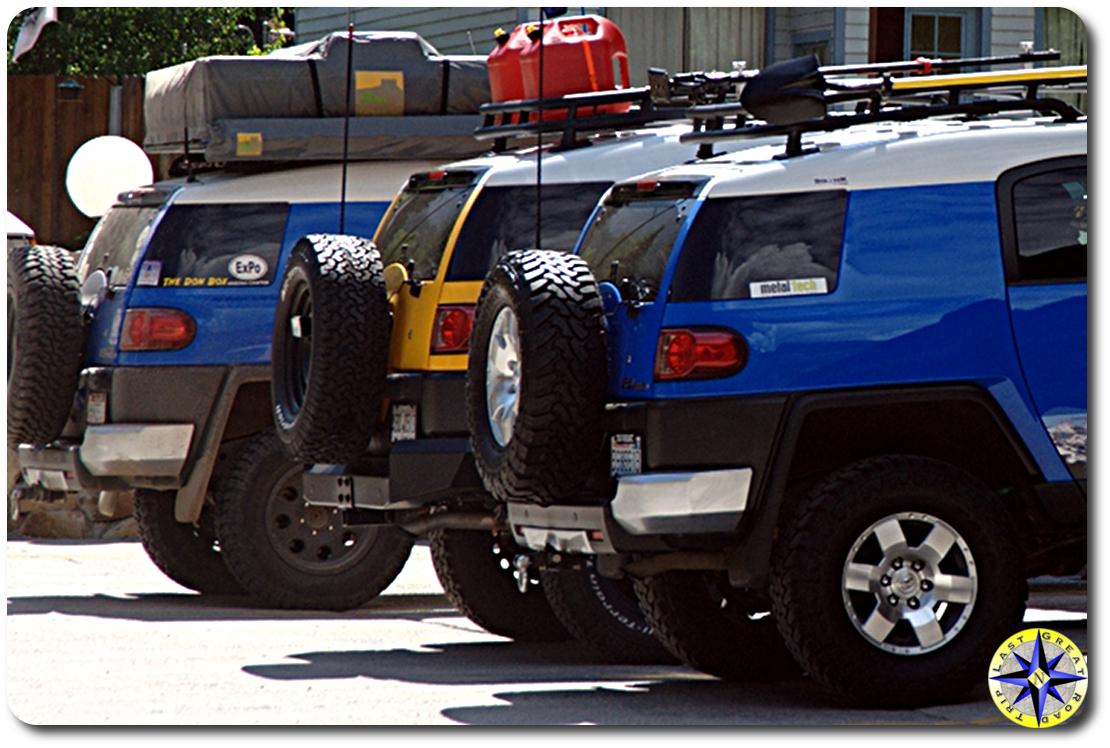 toyota fj cruisers parked