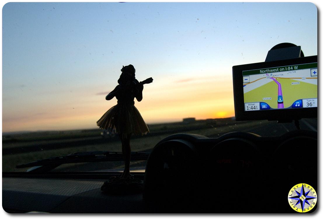 hula doll at sunset
