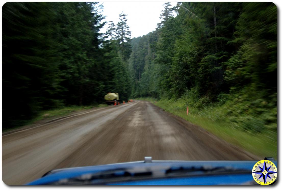 driving dirt road to huricane ridge