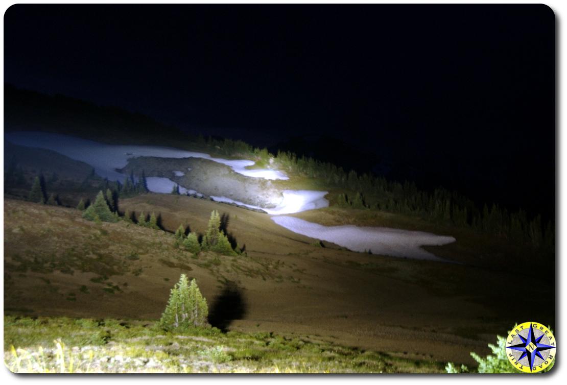 lighting up snow field at night