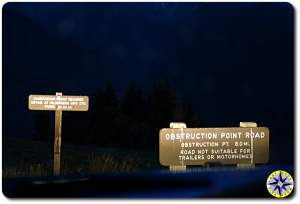 hurricane ridge obstruction point road sign