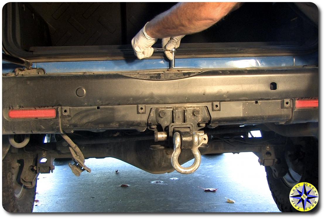 fj cruiser rear bumper cover top bolts removal