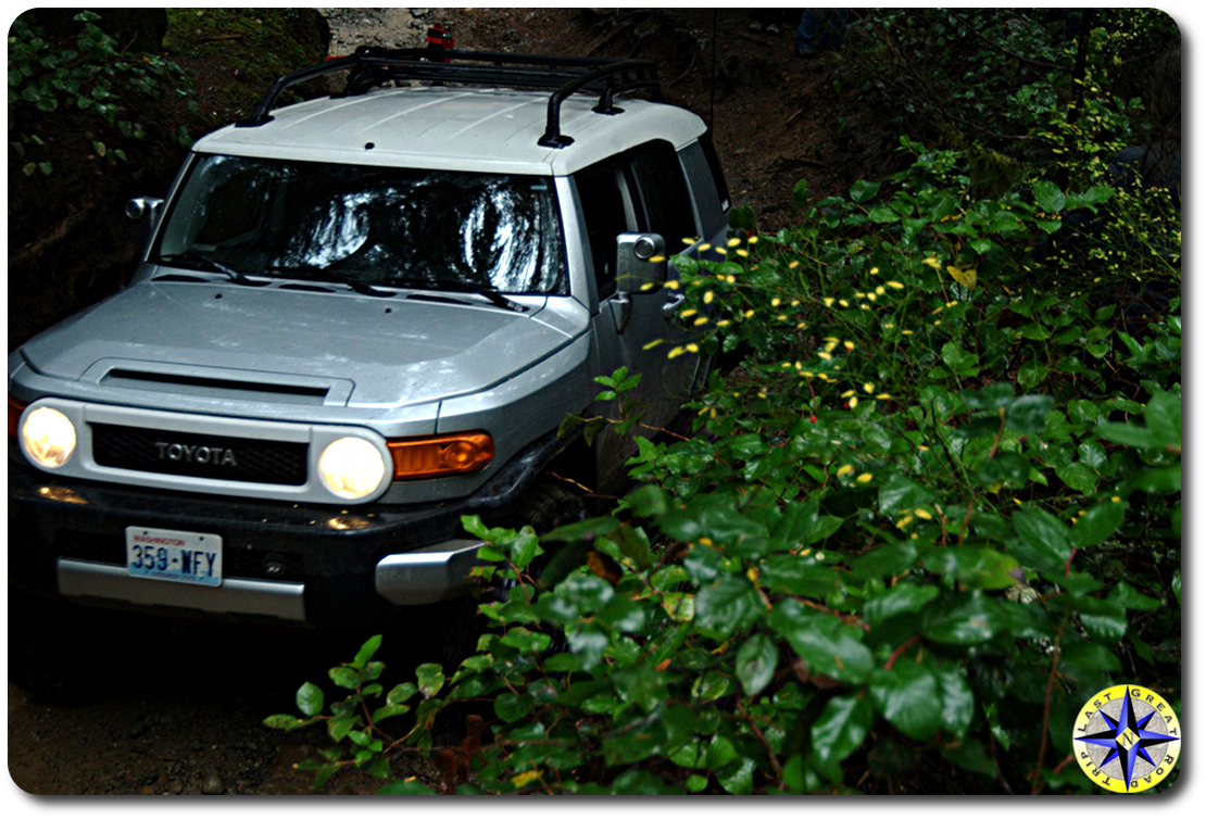 silver toyota fj cruiser 4x4 trail bushes