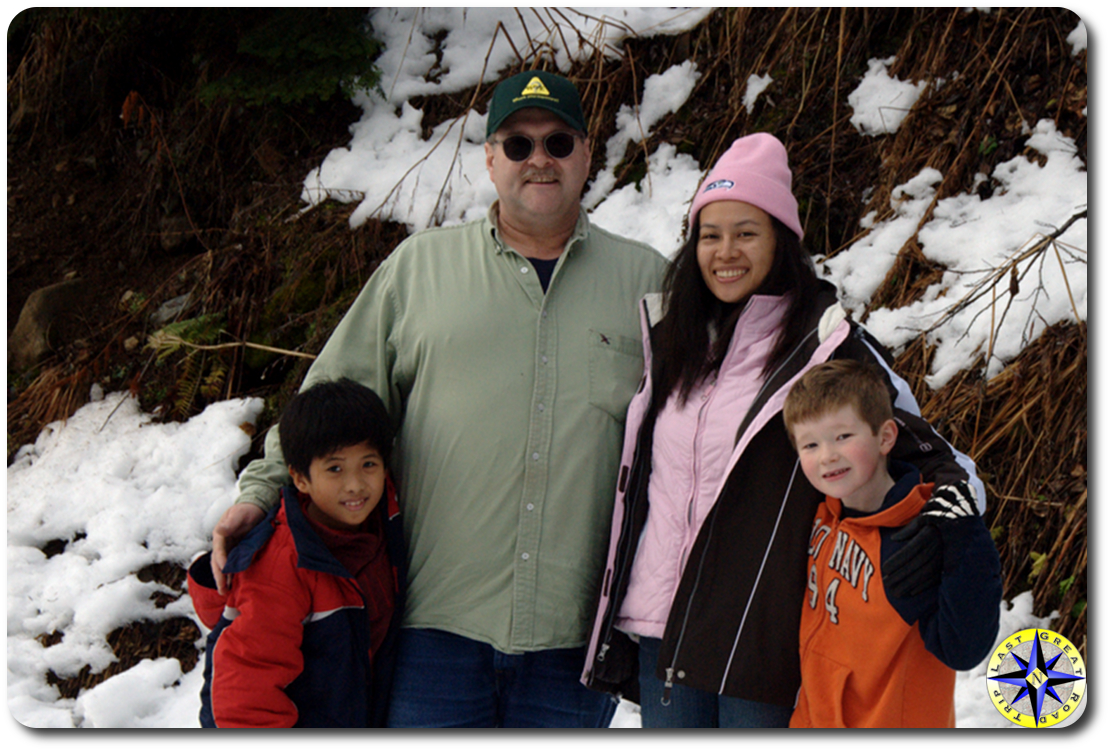 family photo in snow