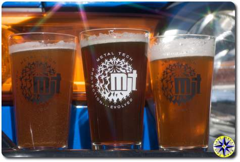 metal tech beer pint glasses