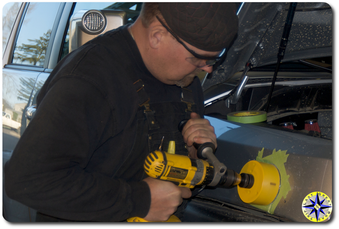 Drilling hole in fj cruiser for snorkle