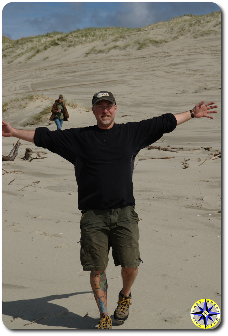 me walking down the sand dunes
