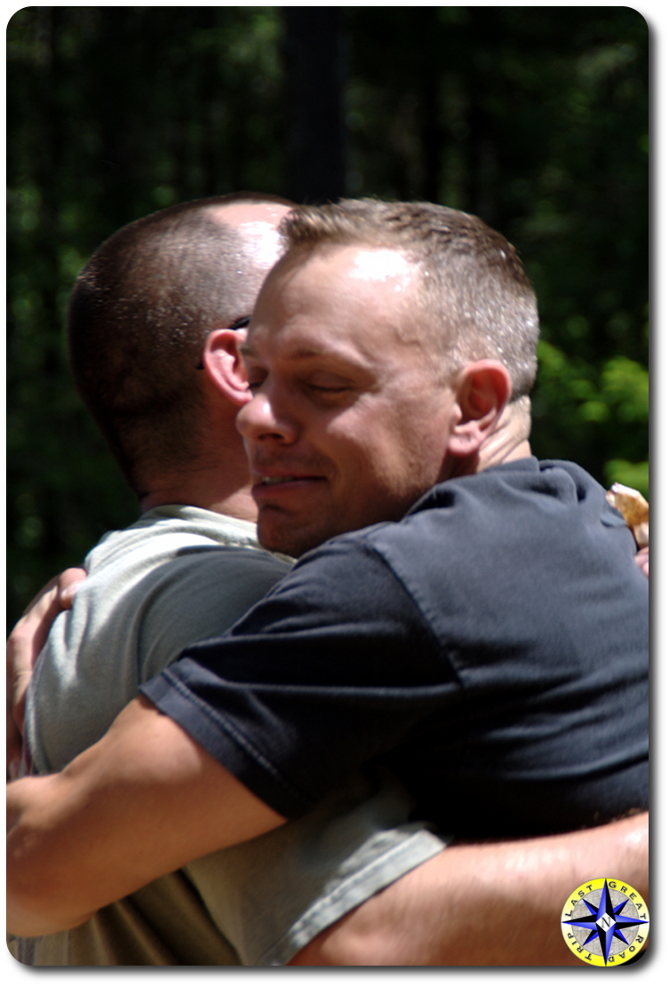 men hugging