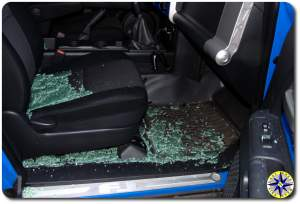 fj cruiser front seat full of shattered glass