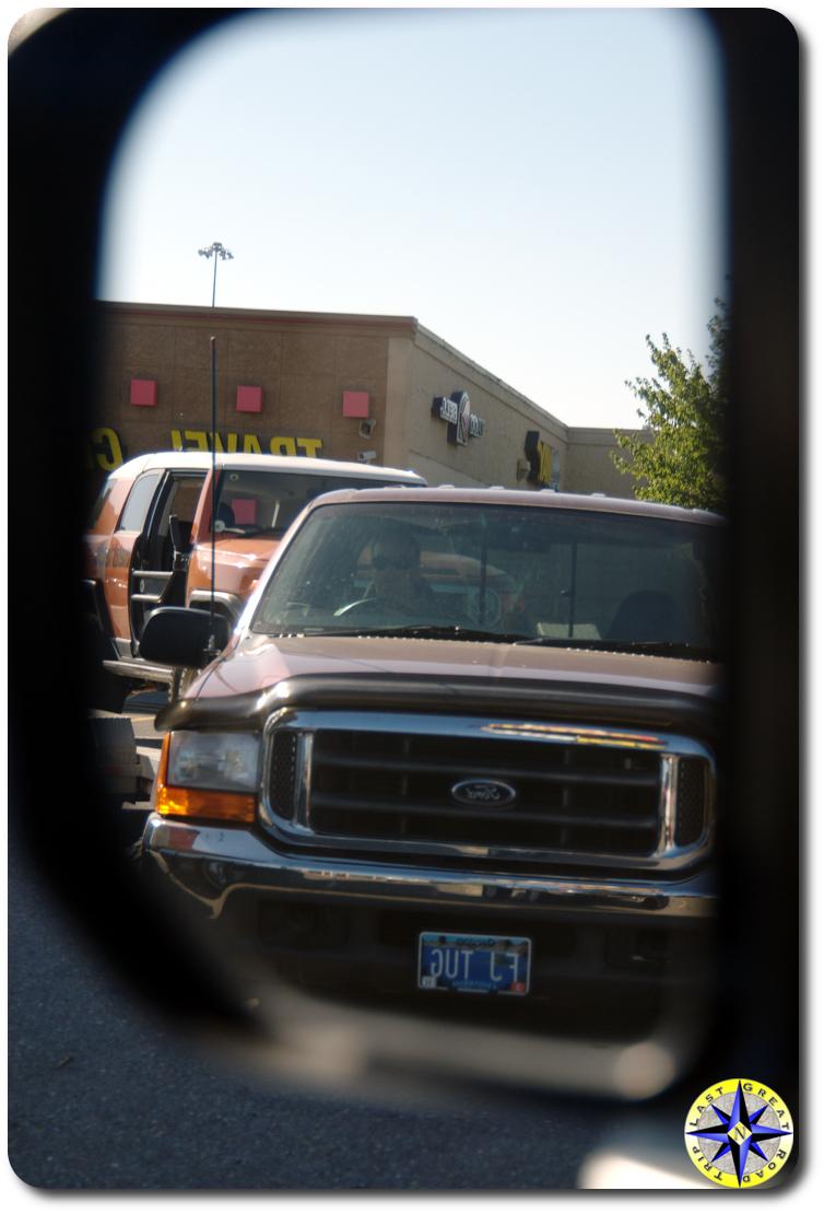 FJ Tug in the side mirror