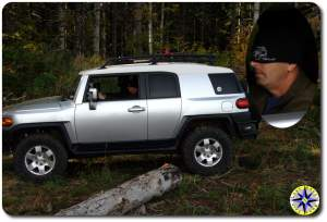 driving silver fj cruiser blindfolded