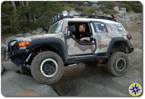 camo fj cruiser climbing rock shelf rubicon trail