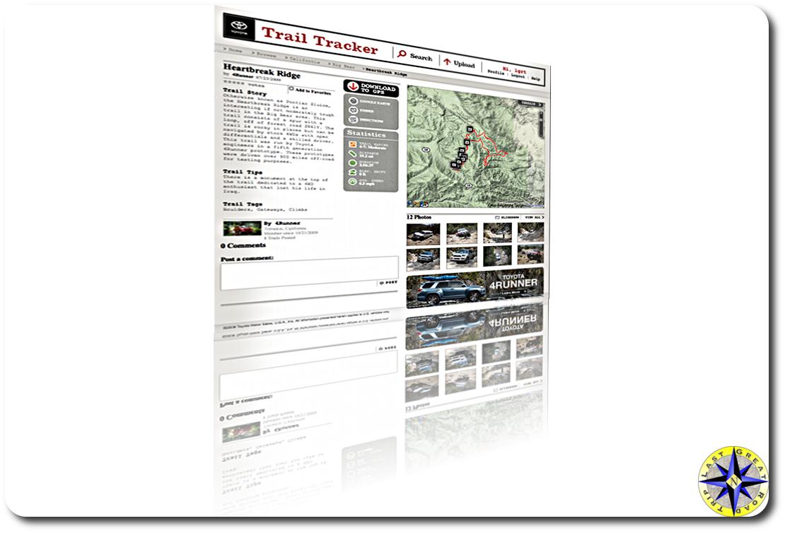 trail tracker webpage