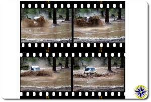toyota fj80 driving through water