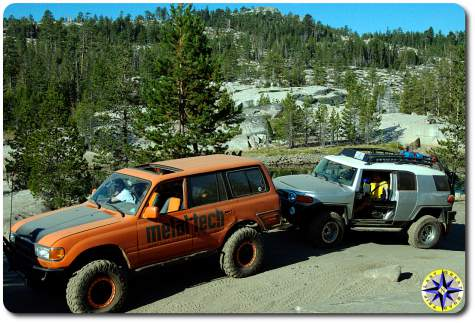 toyota fj80 and fj cruiser rubicon trail