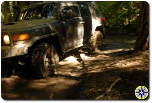 black trd fj cruiser in swampy mud