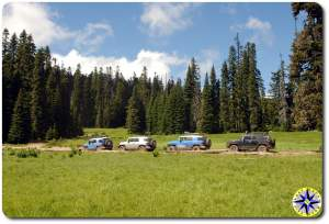 four fj cruisers naches wagon trail meadow