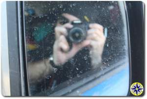 reflection of man taking picture fj cruiser mirror
