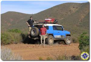 two men toyota fj cruiser baja mexico