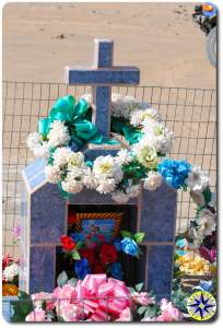 flowers decorating tomb stone baja mexico