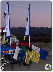 fj cruiser prayer flags evening baja mexico