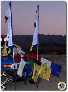 fj cruiser prayer flags evening baja mexico