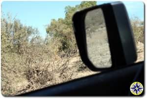 baja mexico in the fj cruiser mirror