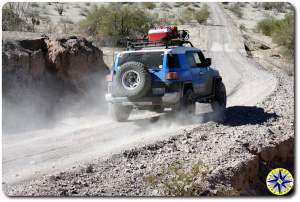 fj cruiser driving dirt road baja mexico
