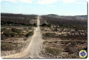 long straight baja mexico dirt road