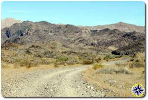 dirt road into baja mexico hills