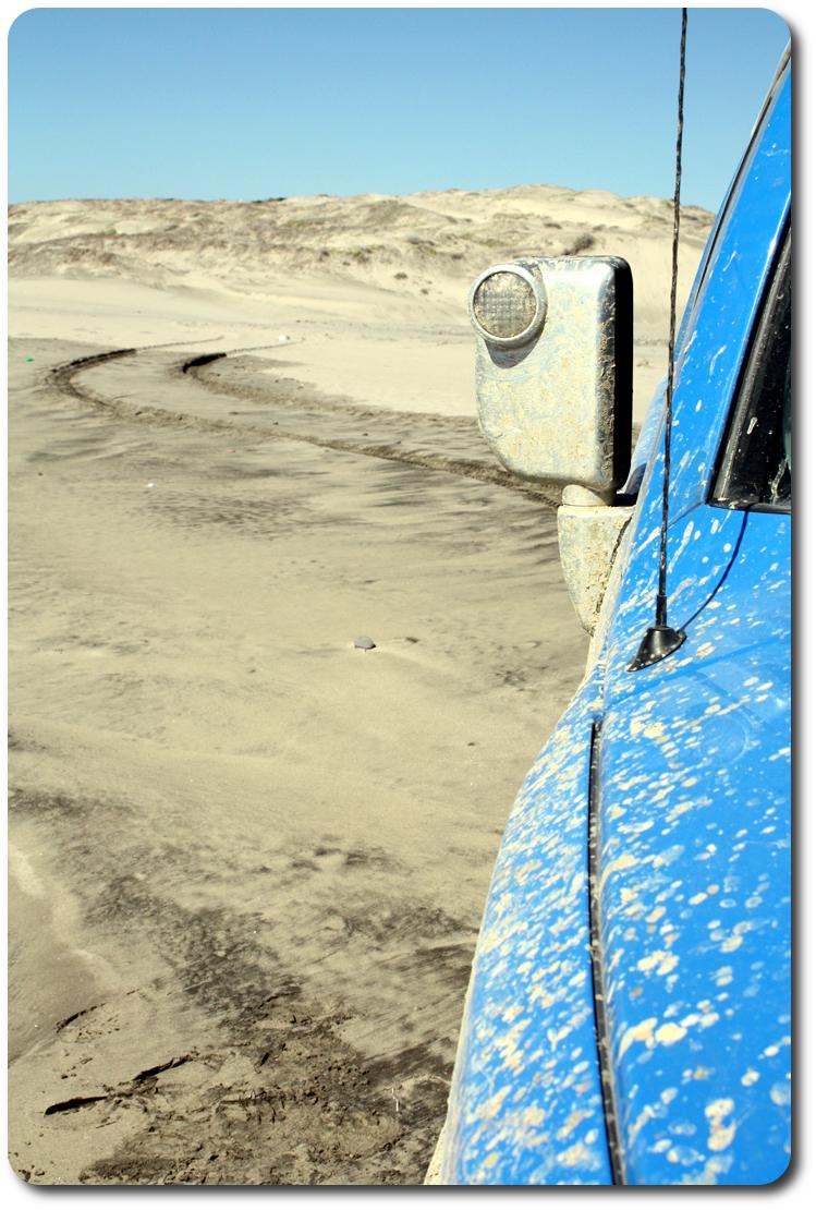 tire track in baja beach sand