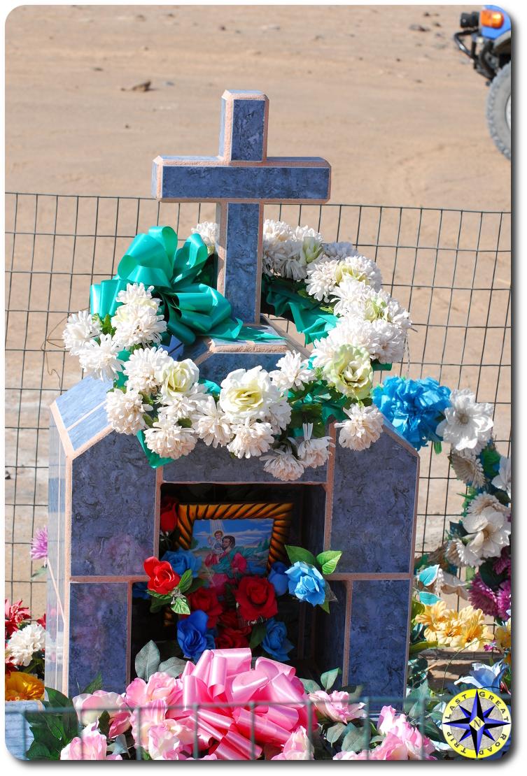 flowers decorating tomb stone baja mexico
