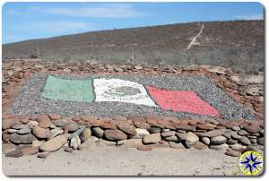 baja mexico millitary base rock flag art