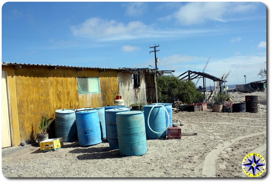 blue barrels baja mexico fishing hut
