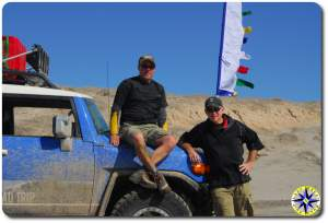 fj cruiser two men prayer flag