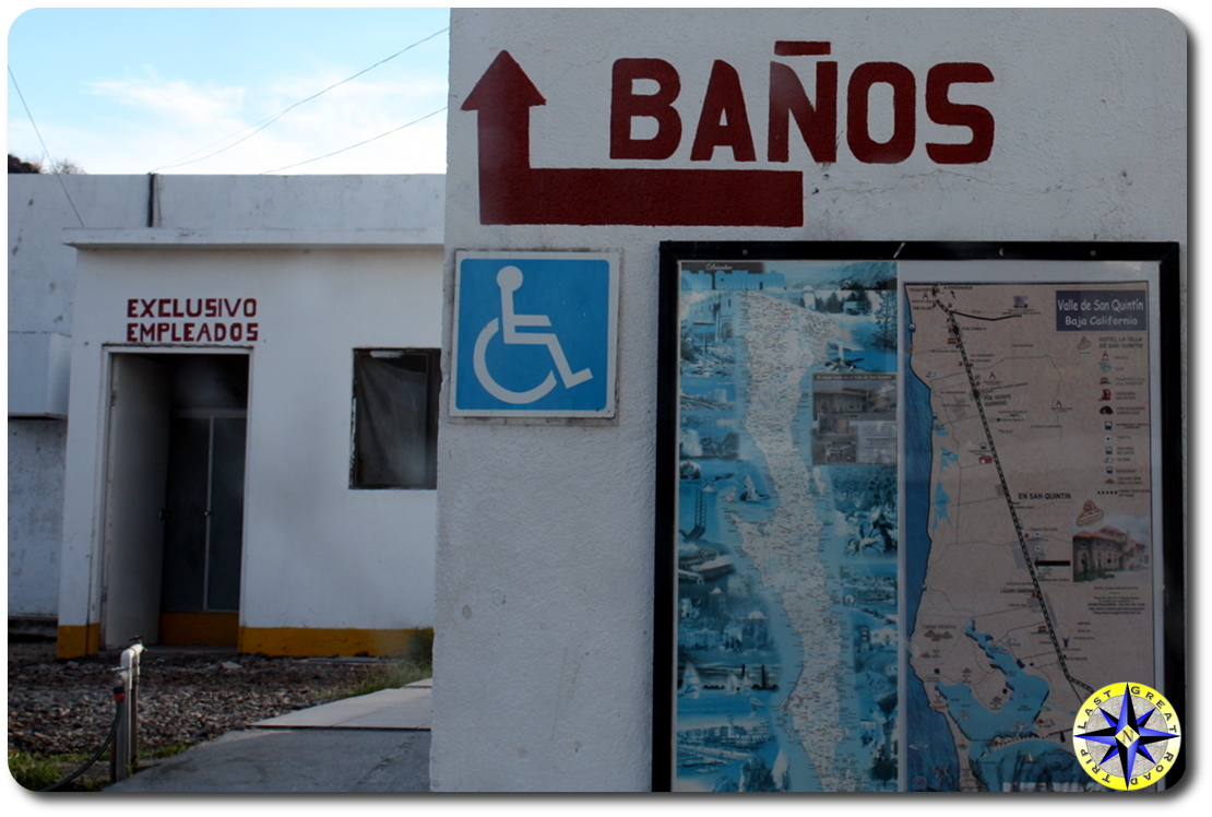 gas station banos sign baja mexico