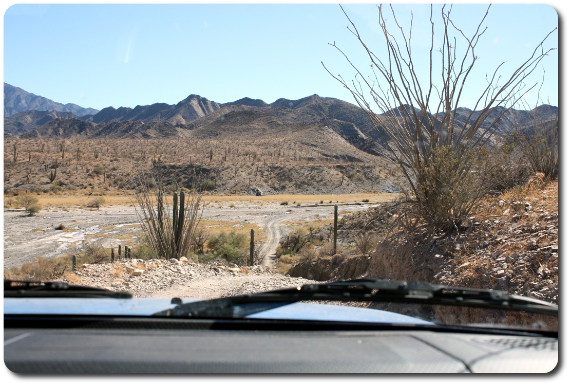 into baja dry river bed