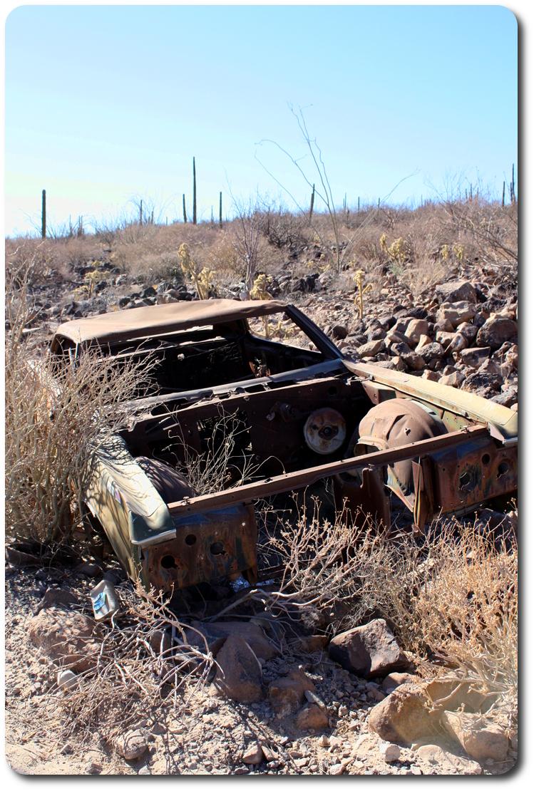 old rusty car in Baja