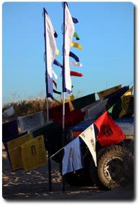 prayer flag hung on fj cruiser