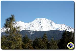 snow covered Mount Shasta