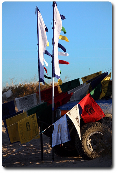 prayer flag hung on fj cruiser