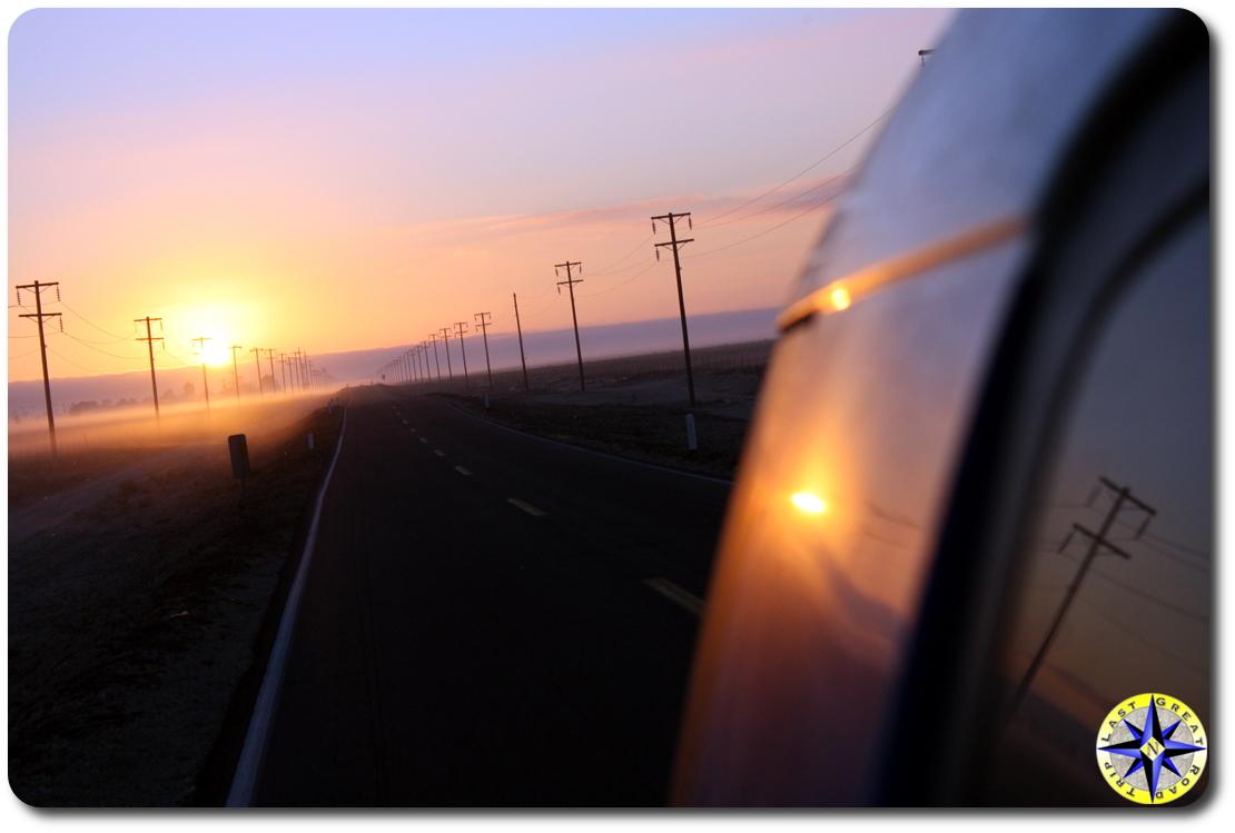 driving baja sunrise