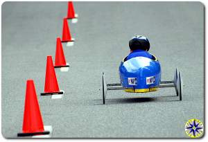 blue soap box derby car