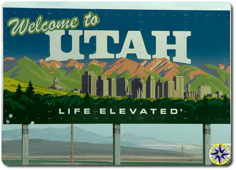 utha state welcome sign